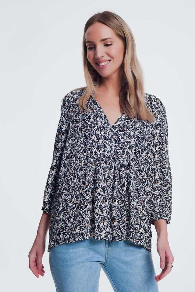 black and white printed blouse with v neck