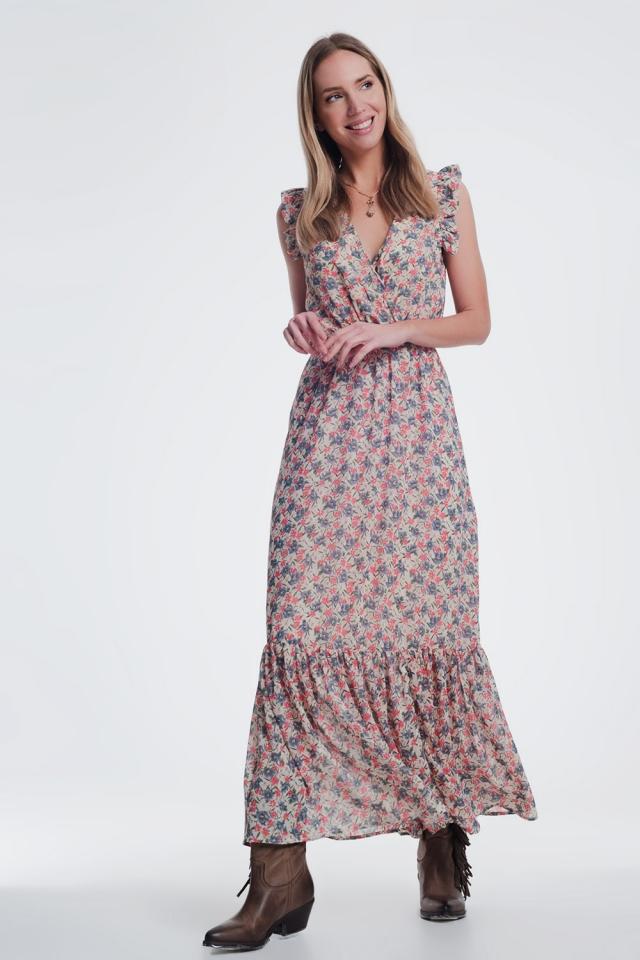 v neck maxi dress in beige floral print