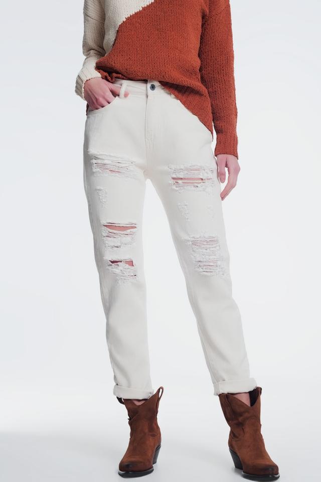 ripped boyfriend jeans in beige