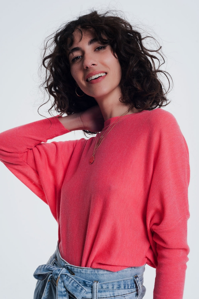 Coral sweater with crew neck tight sleeves