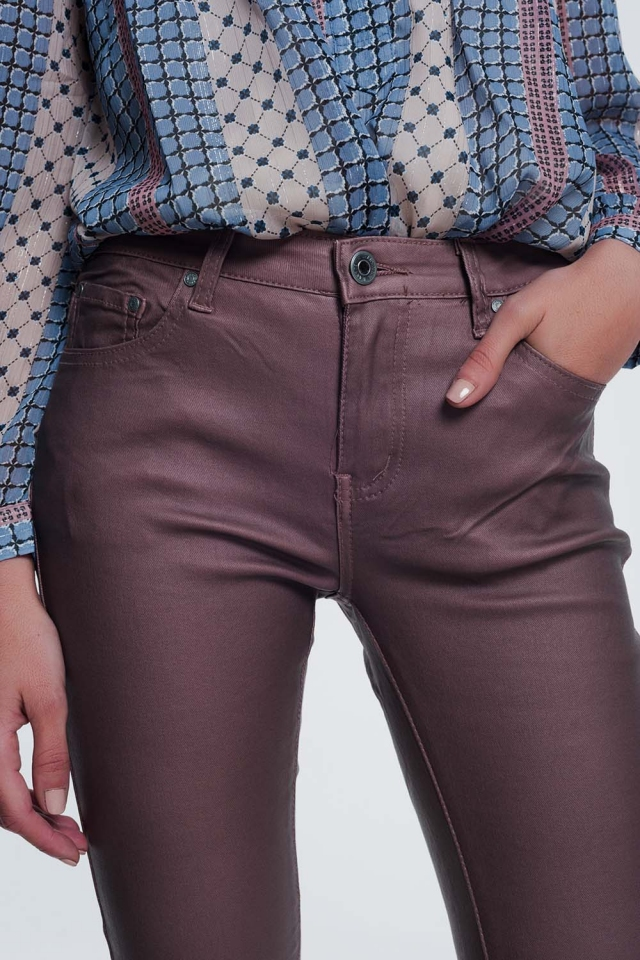 coated pants in pink