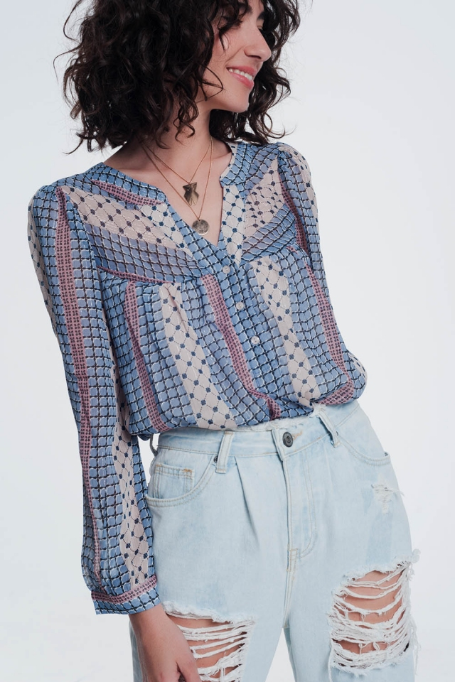 Blue coloured shirt with print