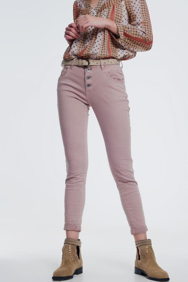 Balloon leg boyfriend jeans in pink