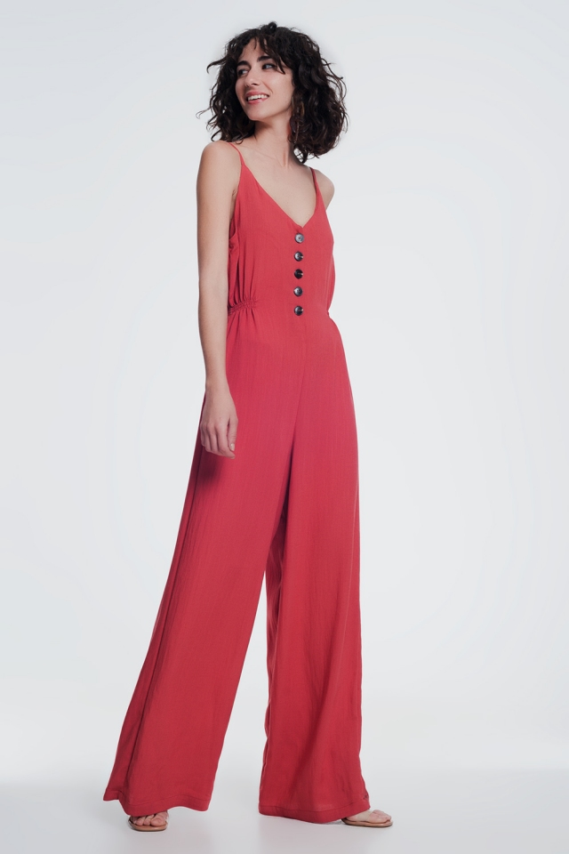beach jumpsuit with button detail