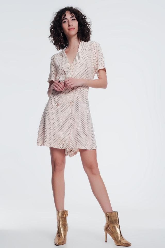 button front dress in beige