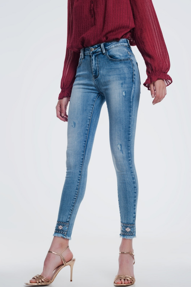 super skinny denim jeans with strass