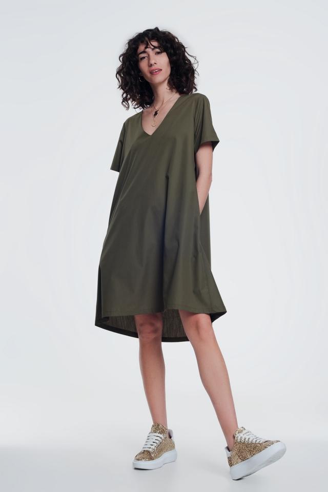 Poplin khaki shiny dress with v neck
