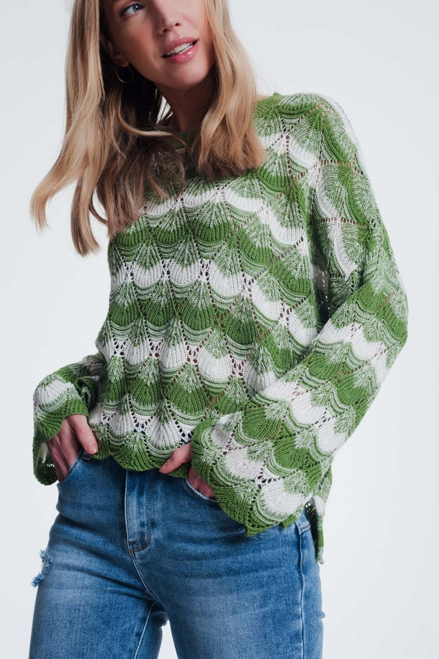 Green striped sweater with open knit detail