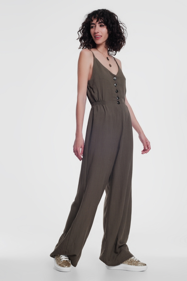 Khaki jumpsuit with button detail
