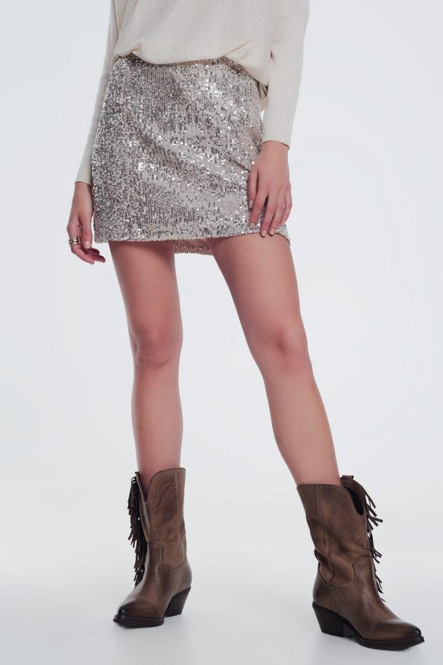 gold paillette sequin skirt