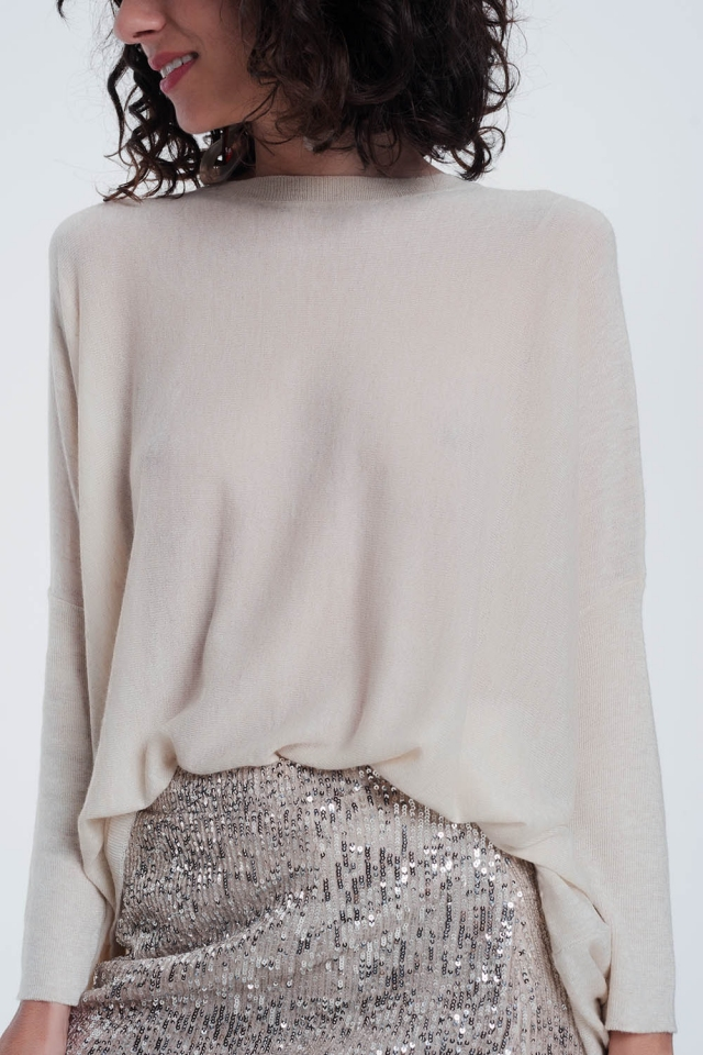 beige sweater with crew neck tight sleeves
