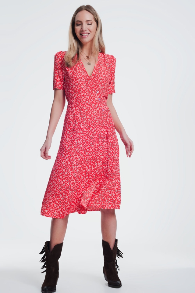 red dress in floral print