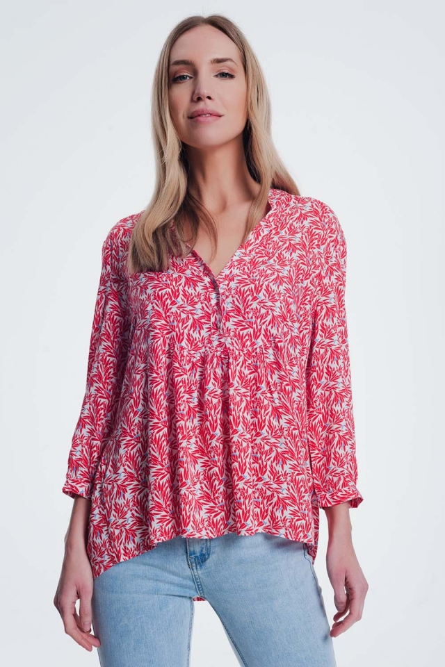 red printed blouse with v neck