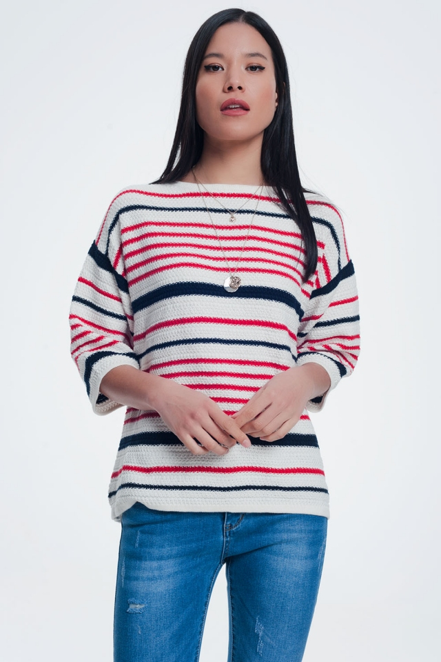 Knitted striped sweater in cream color