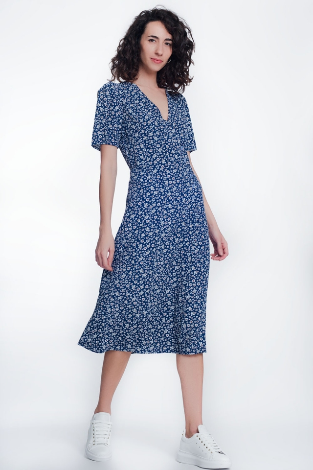 Navy midi dress with dropped hem In floral print