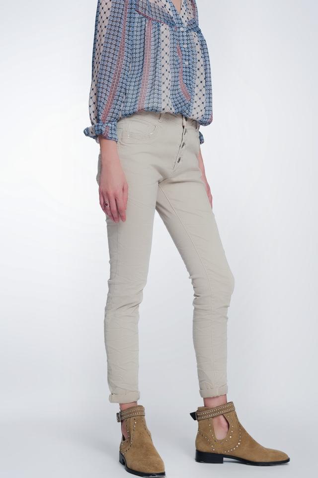 Beige boyfriend Pants with sequin pocket detail