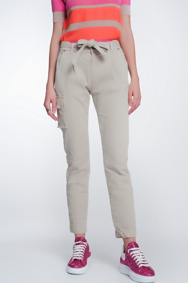straight belted cargo pants in beige