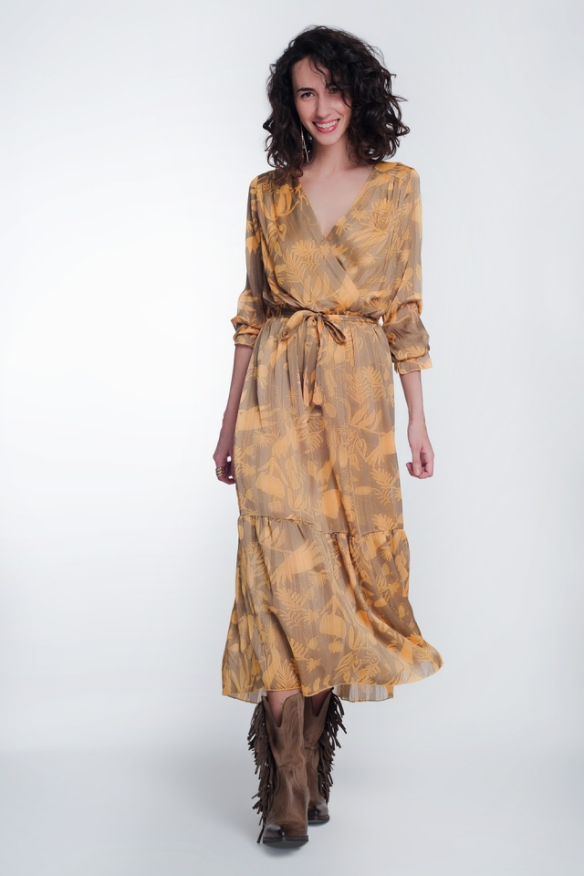 Midi dress in mustard with floral print