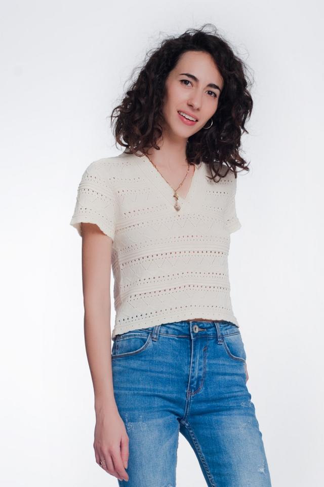 textured crochet knit sweater