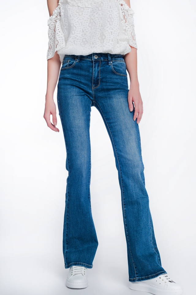 high rise skinny fit flare jean authentic wash