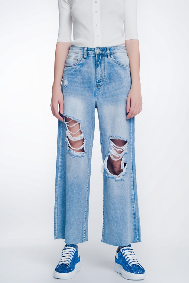 wide leg cropped raw hem jeans in light blue