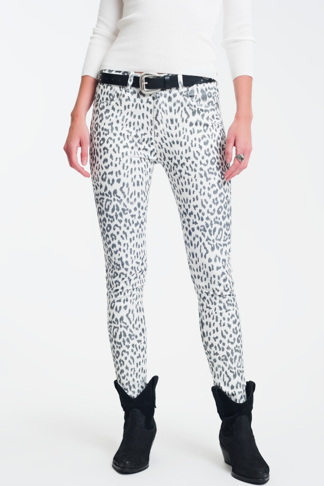 super skinny jeans in white with leopard print