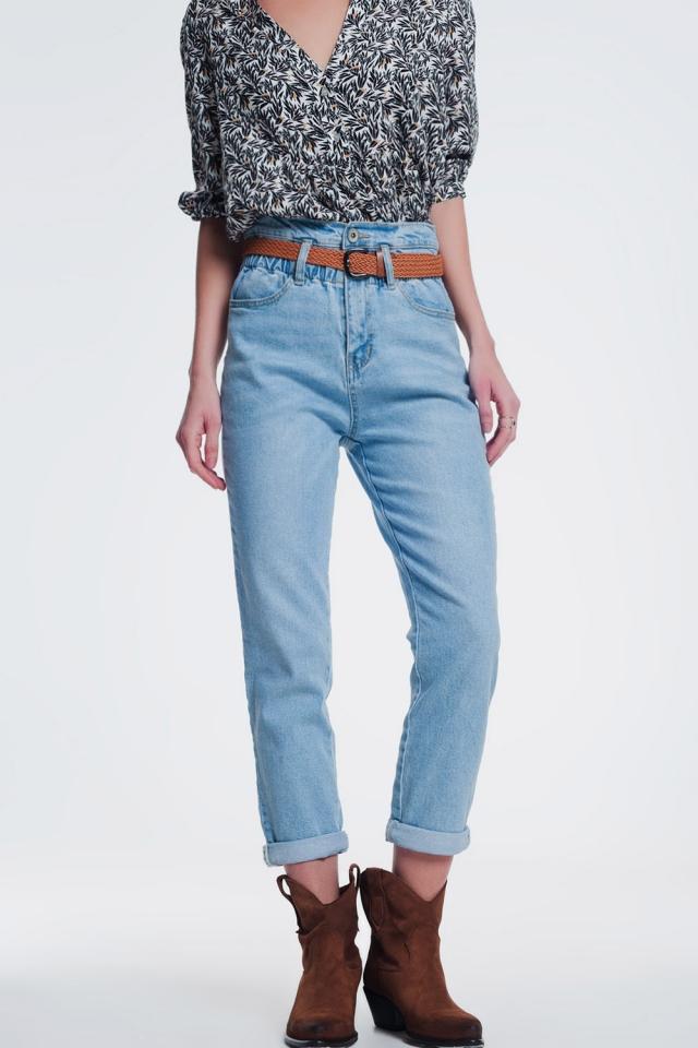 high waist mom jeans with belt in light denim