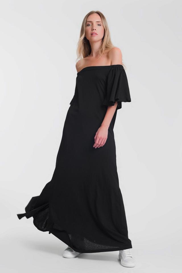 ruched bardot maxi dress in black