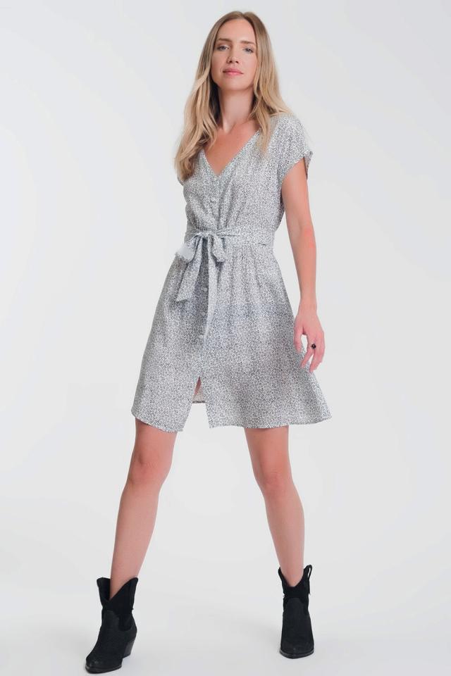 Aangerimpelde jurk met knoopsluiting en fijne print