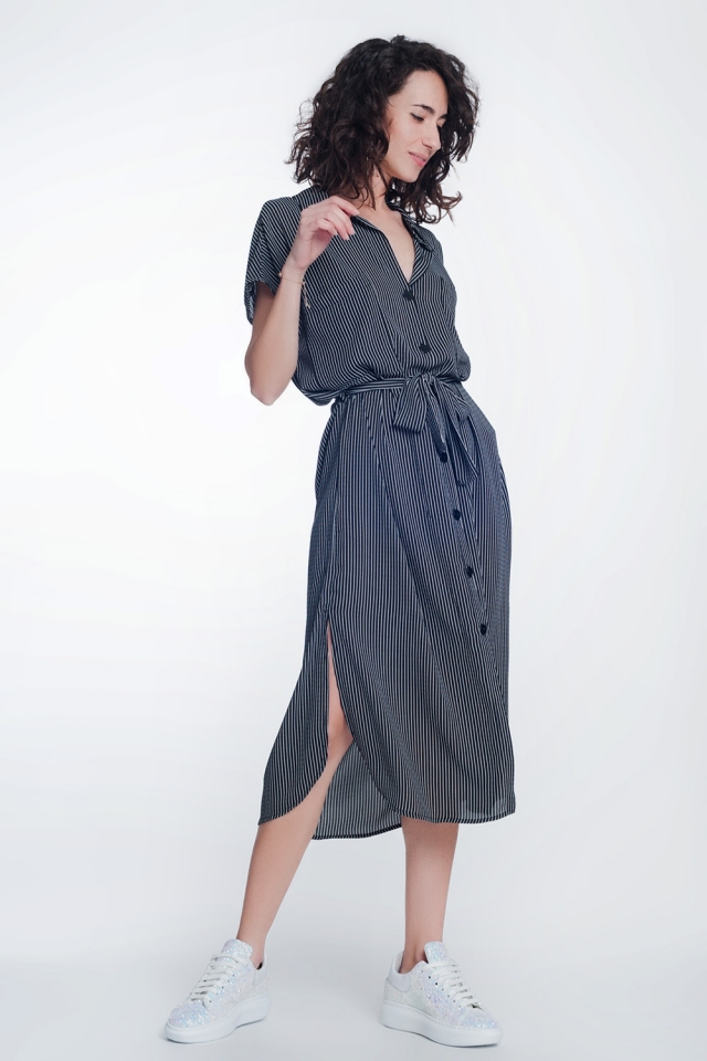 stripe black belted shirt dress