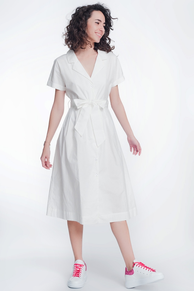 White poplin shirt dress with belt and short sleeve