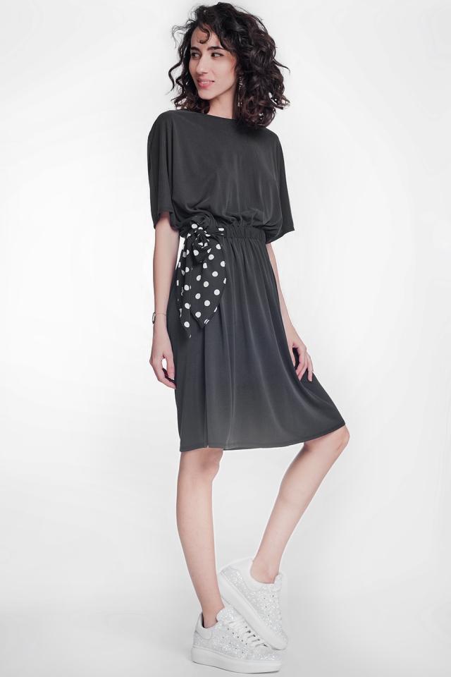 Black dress with half stretching waistband