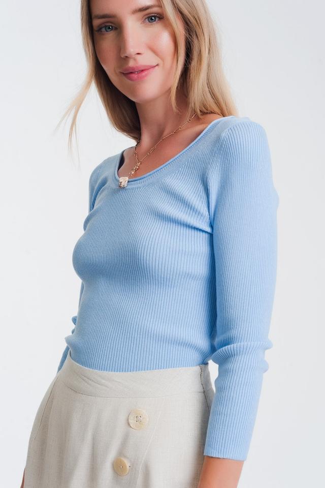 Blau Strickpullover mit weitem Kragen