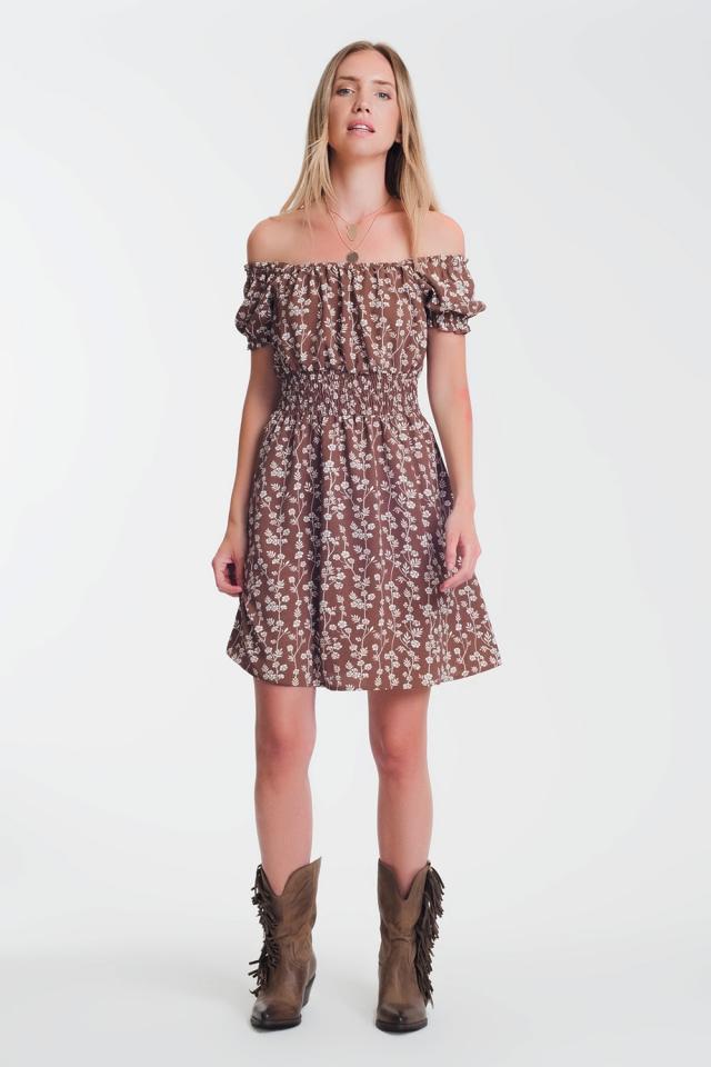 Brown mini bardot dress in floral print