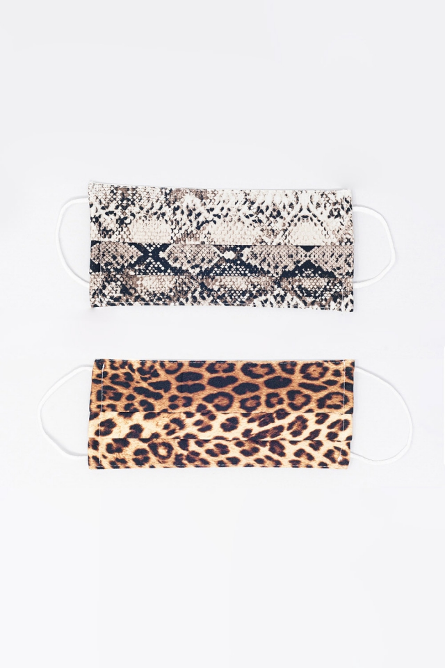 2 PACK Python and Leopard Print Mask