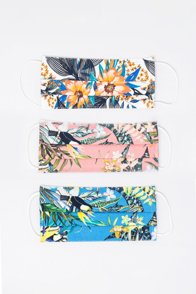 3 PACK Mischfarbe Tropical Print Mask