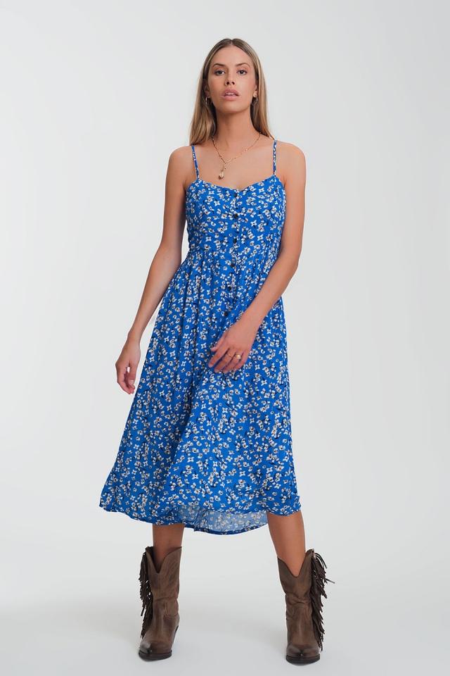 button through maxi dress in blue floral print