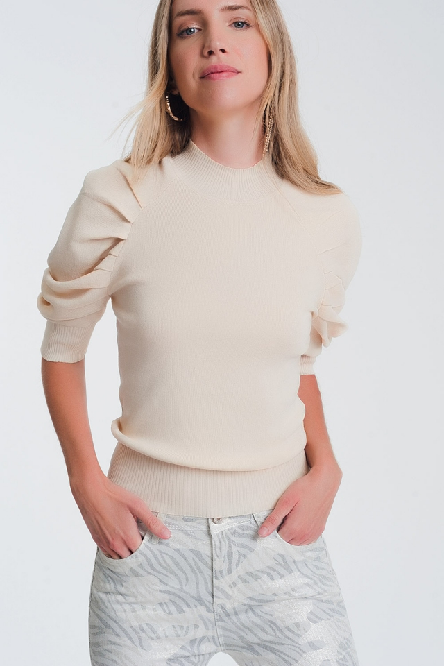 Beige puff sleeve knit sweater