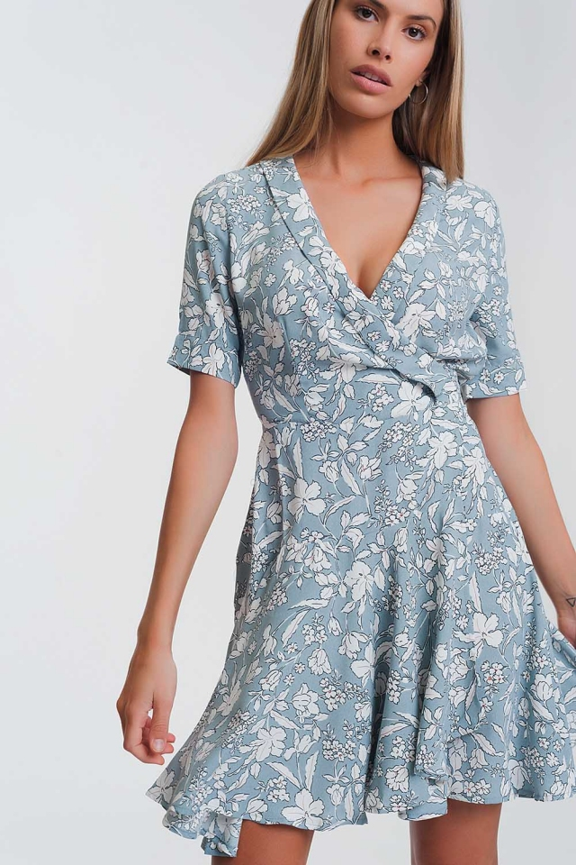 floral print wrap mini dress in blue