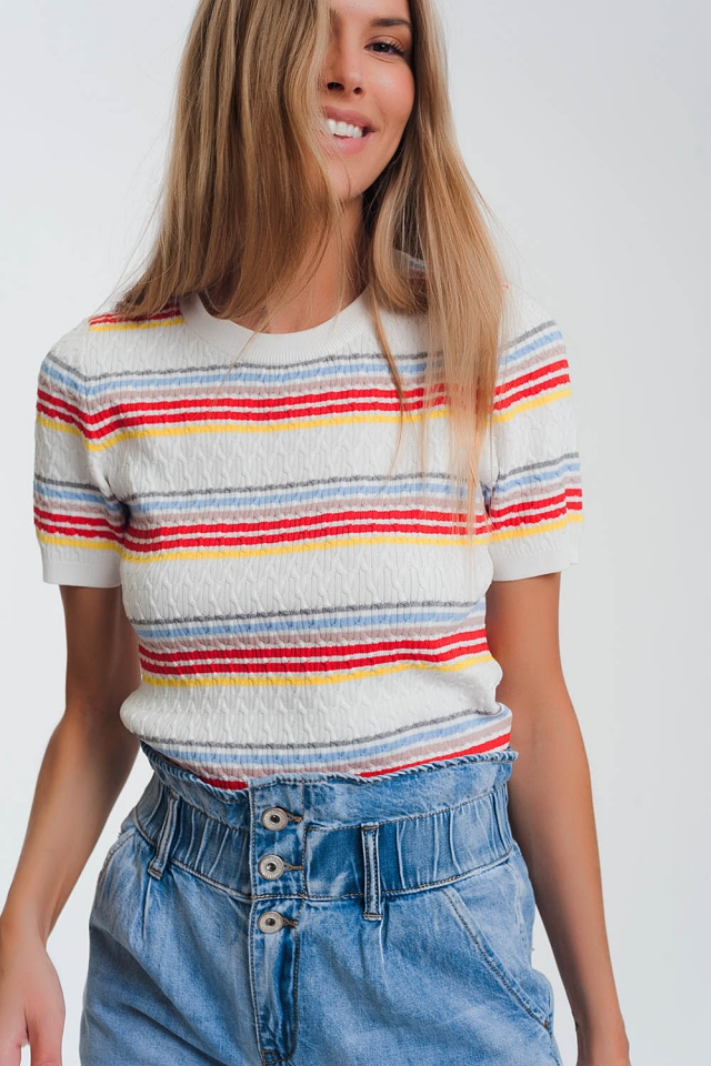 mixed stripe knitted sweater