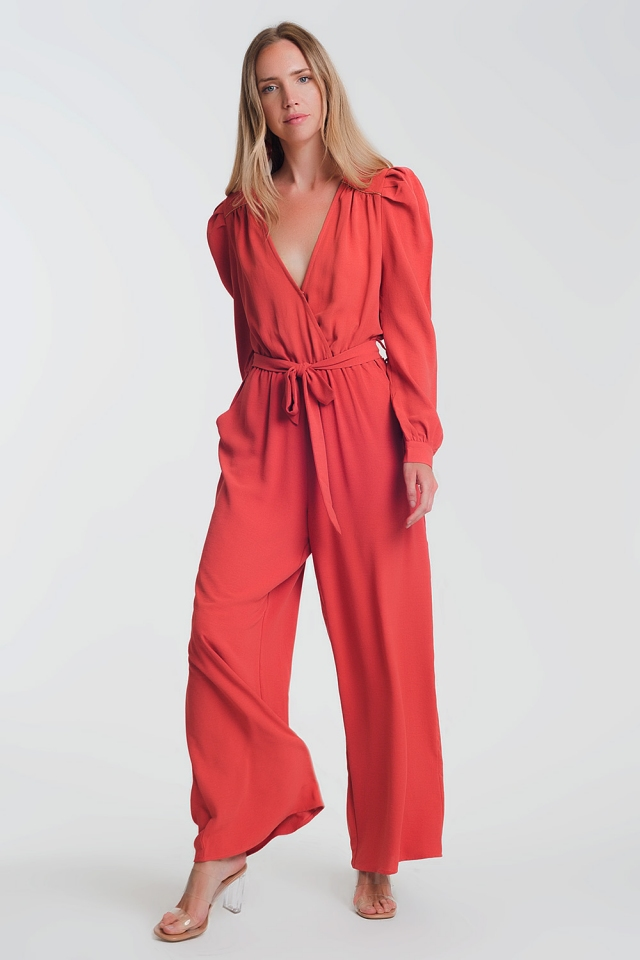 wrap tea jumpsuit with puff sleeve detail in rust