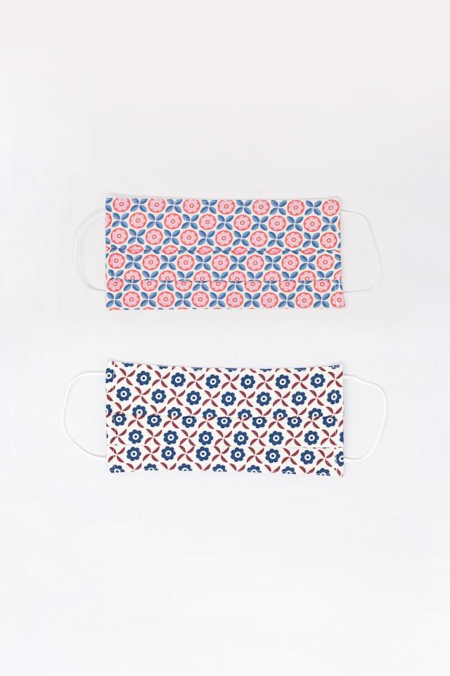 2 PACK geometric print pink and white mask