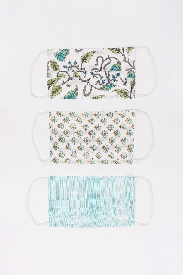 3 PACK Mischen Sie grün bedruckte Bio-Baumwollmaske