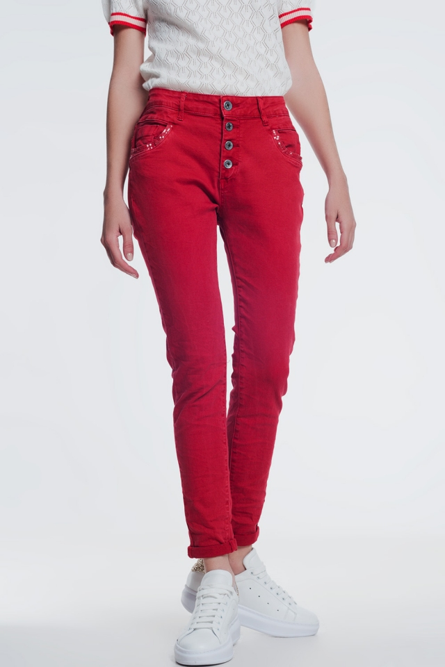 red boyfriend jeans with button closure