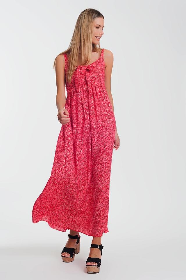 Rode Midi-jurk met geknoopte voorkant in bloemenprint