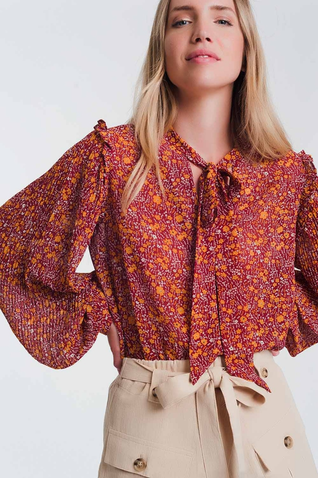 Chiffon frill detail smock blouse in floral print