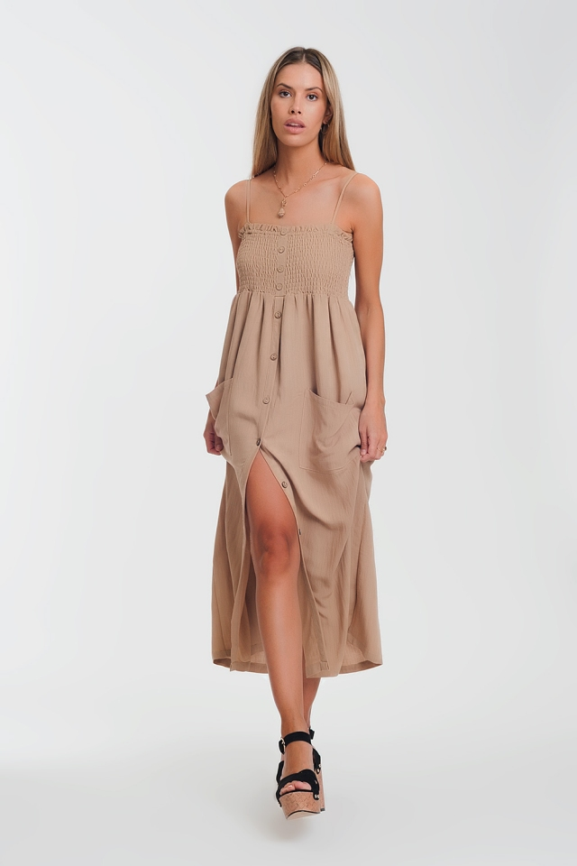 shirred bust maxi beige dress with pockets