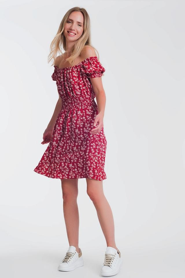 Rood Minizonnejurk met bardot-halslijn met bloemenprint