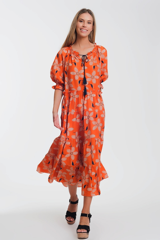 soft maxi dress with puff sleeves in vintage floral print