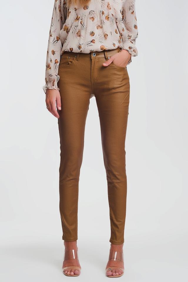 coated skinny pants in camel